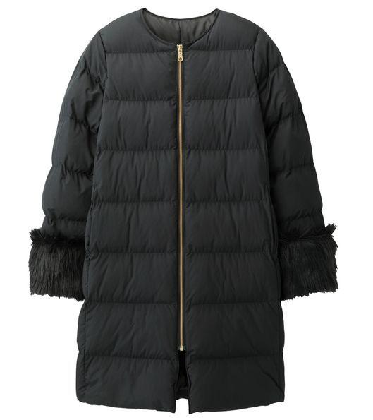 中綿ノーカラーコート、09 BLACK