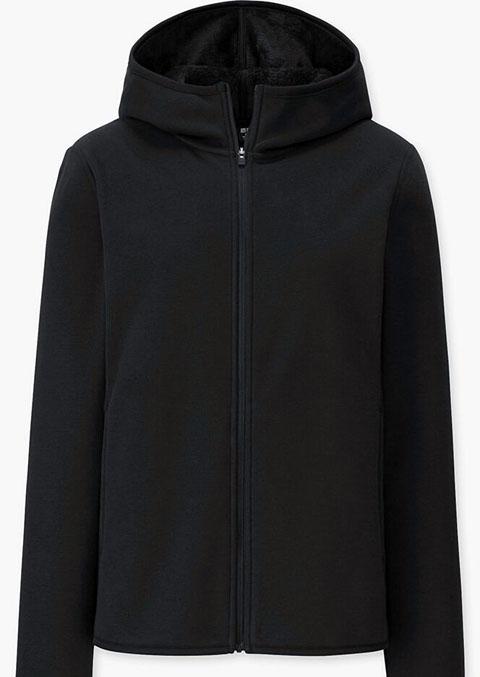 防風フリースパーカ (長袖)、09 BLACK