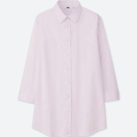 スーピマコットンストレッチシャツ(着丈長め・7分袖)、10 PINK