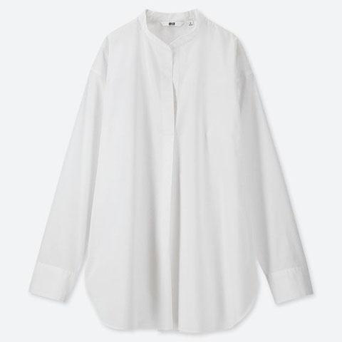 エクストラファインコットンスタンドカラーシャツ(長袖)、00 WHITE