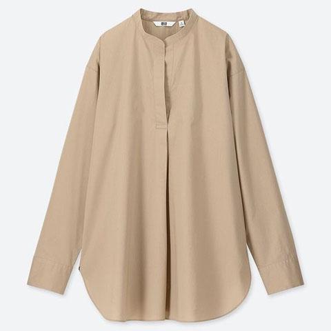 「エクストラファインコットンスタンダートカラーシャツ(長袖)」、31 BEIGE