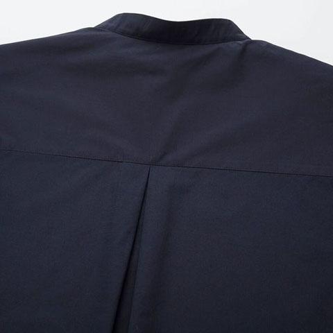 エクストラファインコットンスタンドカラーシャツ(長袖)、69 NAVY