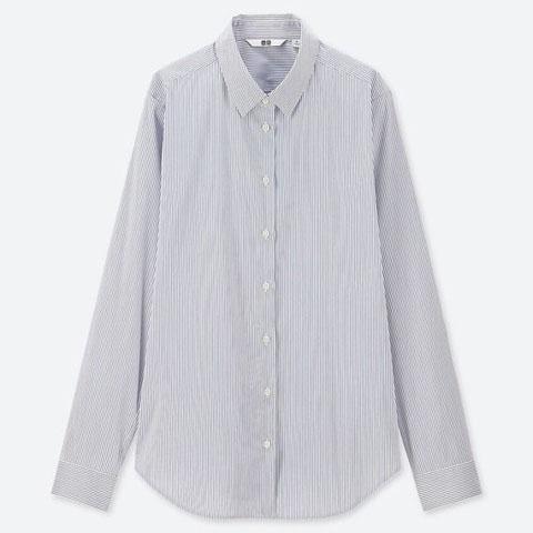 スーピマコットンストレッチストライプシャツ(長袖)、63 BLUE
