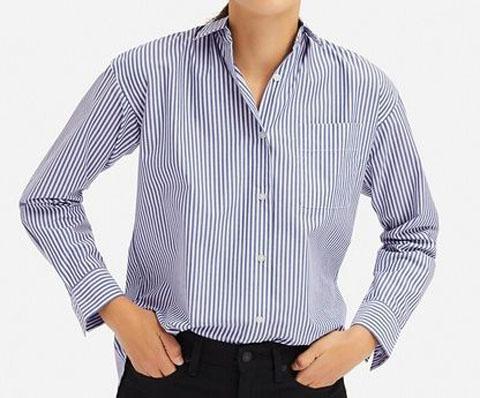 エクストラファインコットンストライプシャツ(長袖)、65 BLUE