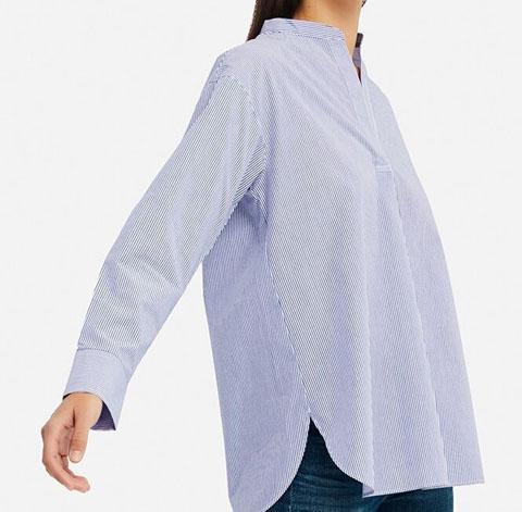 エクストラファインコットンスタンドカラーシャツ(長袖)、65 BLUE