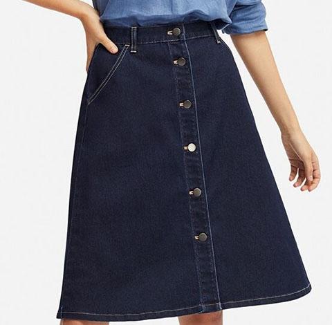 デニムフロントボタンスカート(丈標準59~61cm)、68 BLUE