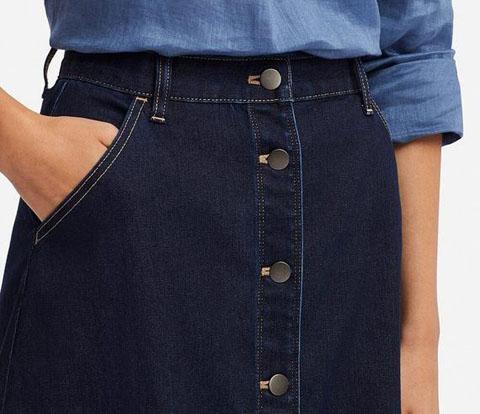 デニムフロントボタンミディスカート(丈短め69~71cm)、66 BLUE