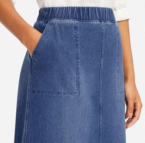 デニムジャージースカート(丈標準73.5~77.5cm)、67 BLUE
