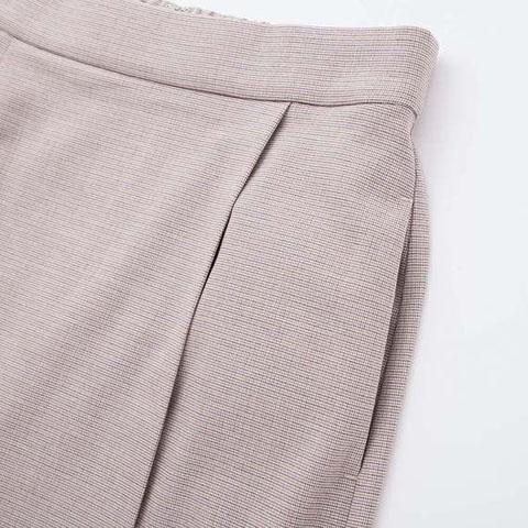 ラップナロースカート(マイクロチェック)、32 BEIGE