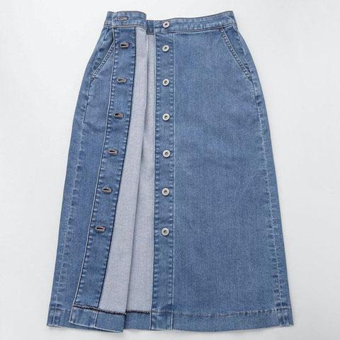 デニムフロントボタンミディスカート(丈標準75~77)、64 BLUE