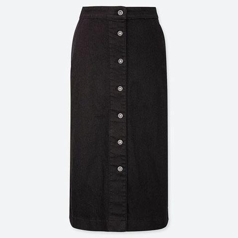 デニムフロントボタンミディスカート(丈標準75~77㎝)、09 BLACK