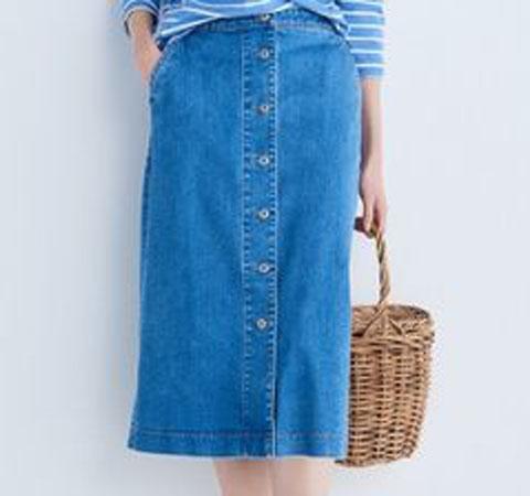 デニムフロントボタンミディスカート(丈標準75~77cm)、64 BLUE